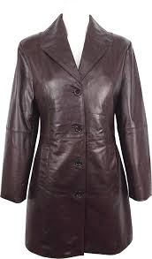 unicorn womens three quarter length coat real leather jacket glazed brown go at women s coats