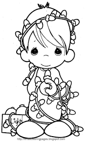 Christmas Lights Precious Moments Coloring Pages