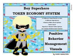 Blond Hair Boy Superhero Token Economy Positive Behavior Management Reward Chart
