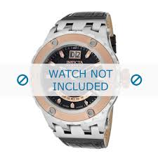 invicta watch strap 10096 subaqua reserve leather black 32mm black stitching zoom