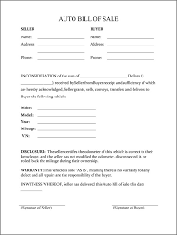 Bill Of Sale Form Template Vehicle