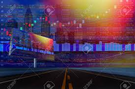 Double Exposure Of Stocks Market Chart On Display Concept With