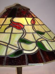 Large Art Crafts Mission Stained Lead Glass Slag Lamp Shade Only Vtg