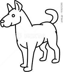 ベクター 線画 モノクロ 犬のイラスト素材 Pixta