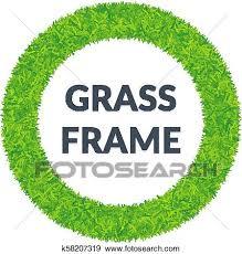 grama verde redondo frame clipart