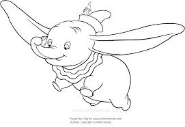 Disegno Di Dumbo Che Vola Con La Sua Piuma Da Colorare
