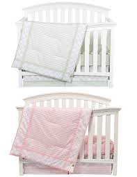 Matching Pink and Sea Foam Boy Girl Nursery Bedding Sets for Twins