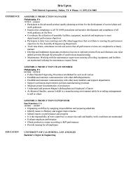 Assembly Production Resume Samples Velvet Jobs