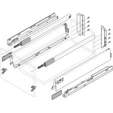 blum tandem box. blum. tandembox antaro blumotion high fronted pull-out height c 192 mm 30 kg nl 450 longside gallery rail. r9006 white aluminium blum tandem box