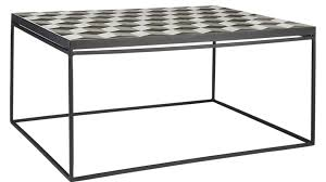 above a tiled tangier coffee table in shades of black gray and white measures 31 75 by 24 inches it is 399 from cb2 order now for shipment in