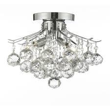empire crystal 4 light chrome flush mount chandelier