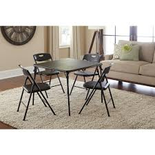 Cosco 5 Piece Black Folding And Chair Set 37557blke The Home Depot