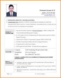 Format For Resume 100 electrical engineering cv format mail clerked 89