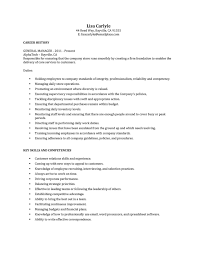 Store Manager Job Resume General Manager Responsibilities Resume