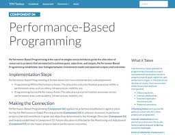 guidebook tpm toolbox thumbnail image of component 04 summary webpage performance based programming is the use of