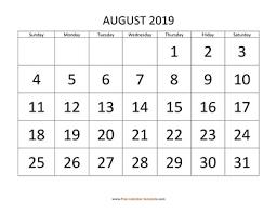 August Calandar August 2019 Free Calendar Tempplate Free Calendar Template Com