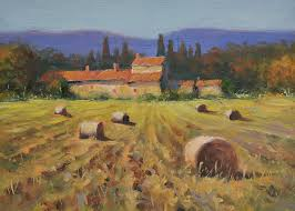 hay bales tuscan farm house tuscany countryside landscape oil painting