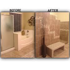 Walk In Tile Shower Bathroom Remodel Tiled Walk In Shower With No Door Removed The