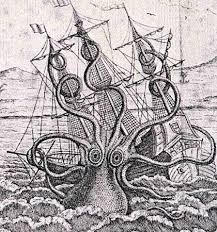 sea monster drawing.  Drawing An Image Of A Black And White Drawing Multitentacled Sea Creature Near Throughout Sea Monster Drawing E