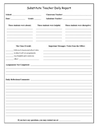 Substitute Teacher Daily Report Form