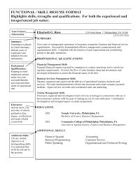 Brilliant Ideas Of Functional Summary Resume Examples Customer