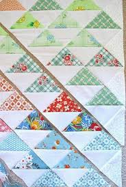 340 best Half Square triangles images on Pinterest   Table runners ... & Simple assembly: sew strips of colour to white - both edges, cut triangles… Adamdwight.com