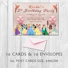Personalised Birthday Invitations For Kids 16 Personalised Princess Birthday Party Invitations Invites Kids