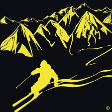downhill skiing wall decal indoor vinyl ski wall decal ski gifts for men or women ski wall decor ski slope wall art ski snow decoration unique ski wall