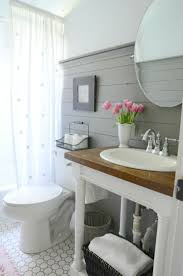 farmhouse pedestal sink. Neutral Style Small Bathroom With Gray Shiplap And Pedestal Sink In Farmhouse
