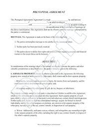 Prenuptial Agreement Form With Sample Prenup Marriage