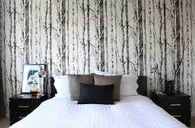 wallpapered office home design. View In Gallery Woodsy Wallpaper Gives The Cozy Bedroom An Entirely New Look. By Leclair Decor Wallpapered Office Home Design