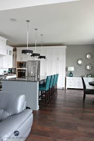 Open Layout White Kitch With Gray Painted Island Teal Accents Stunning Sherwin Williams Exterior Decor Interior