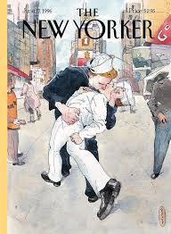 a couple reenacts a famous world war ii kiss painting by barry blitt