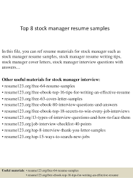 Top 8 stock manager resume samples In this file, you can ref resume  materials for ...