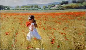 on poppy field painting
