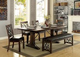 metal dining room furniture. furniture of america cm3465t wood metal dining set traditional with hints medieval flair room