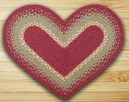 burdy maroon and sunflower braided jute rug heart