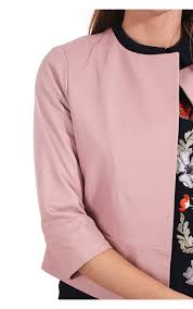 ted baker womens rennay clean leather jacket dusky pink