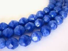 opaque blue 8mm faceted round czech glass beads fire polished beads2string