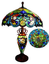 stained glass lamp pattern tiffany style 3 light double lit table lamp shade