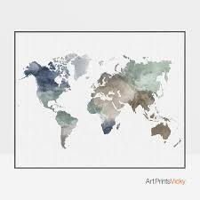 World Map Posters World Map Poster World Map Art World Map Print Travel Map Large World Map World Map Watercolor Gift Decor Artprintsvicky