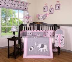boutique baby pink gray elephant 14 pieces nursery crib bedding sets including al mobile com