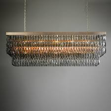 smoke crystal rectangular chandelier