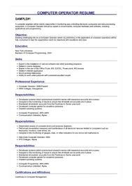 resume format for computer operator sample computer operator resume