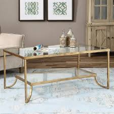 Antique Gold Coffee Table Glass Kathy Kuo Home Madox Modern Classic Antique Gold Leaf Glass Coffee Table
