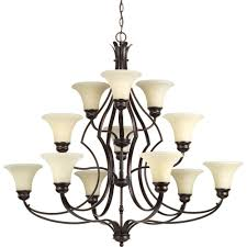 progress lighting applause collection 12 light antique bronze chandelier with tea stained spotted glass