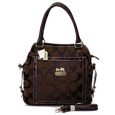Best Style Coach Logo In Signature Medium Coffee Satchels Bjc Outlet vcIc5