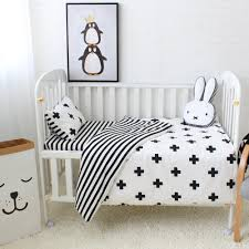baby bedding set cotton crib sets black white stripe cross pattern baby cot set including duvet cover pillowcase flat sheet duvet cover sets bedroom