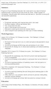 Emailing Resume Template Resume Templates Email Marketing Specialist Marketing