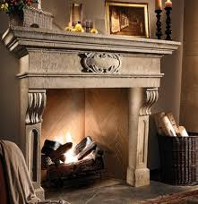 image of rustic fireplace mantel shelves